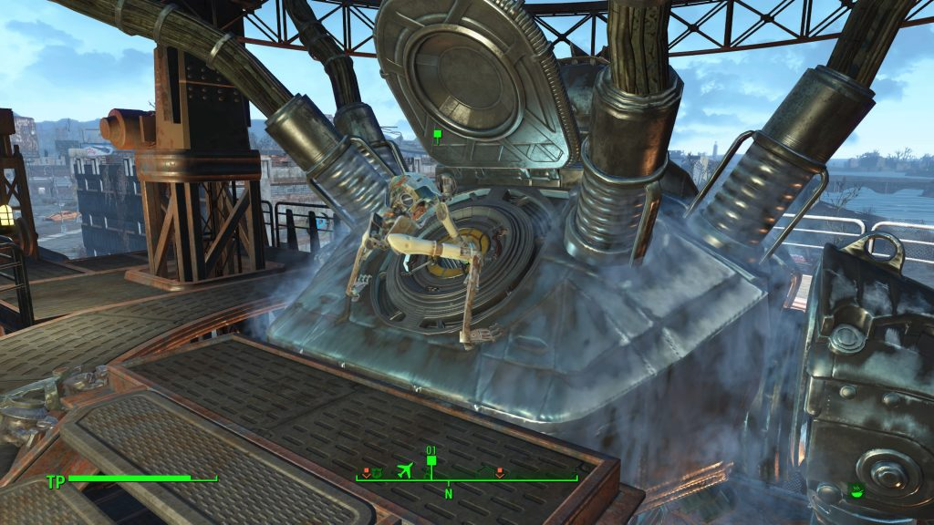 Der Virus-Synth bei der Arbeit auf dem Kopf von Liberty Prime.