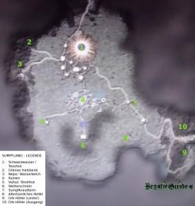 Eine Map zu Gothic 4 mit allen wichtigen Orte im Sumpfland.