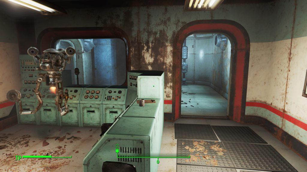 Sobald ihr durch diese Tür den Entgiftungsraum betretet, werdet ihr im Labor eingeschlossen.
